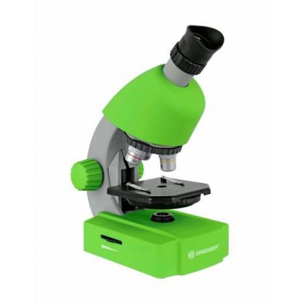 Bresser Junior 40x-640x mikroskops ar telefona statīvu (zaļš)
